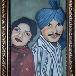Amar singh chamkila Handmade painting 20×14 inch picture size with thick golden frame With Autographs